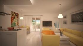 Rozkládací gauč v obývací části