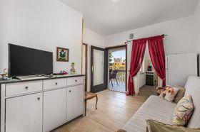 Obývací pokoj s TV a pohovkou na rozložení